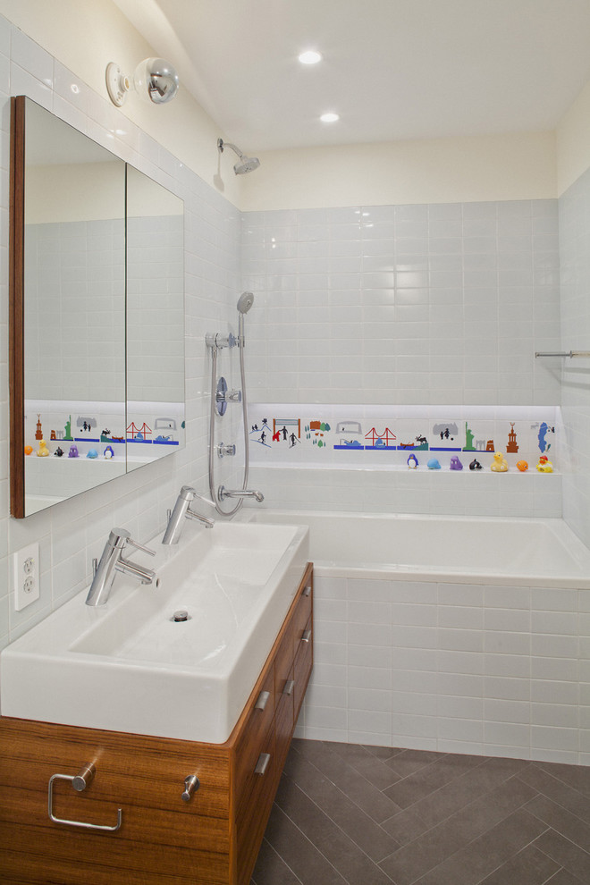 Duravit Sink Bathroom Modern with Bathroom Shelf Double Sinks Double Vanity Floor Tile Herringbone Tile Kids Bathroom