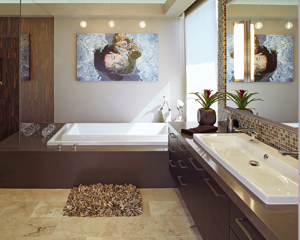duravit sinks Bathroom Contemporary with Art bathroom brown contemporary countertop design espresso cabinets extra wide sink glass