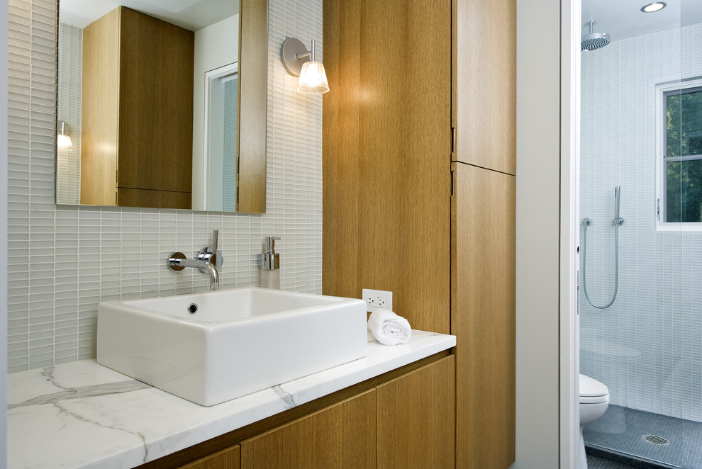 Duravit Sinks Bathroom Transitional with Bathroom Bathroom Mirror Clean Lines Minimal Modern Neutral Colors Sconce Square Sink