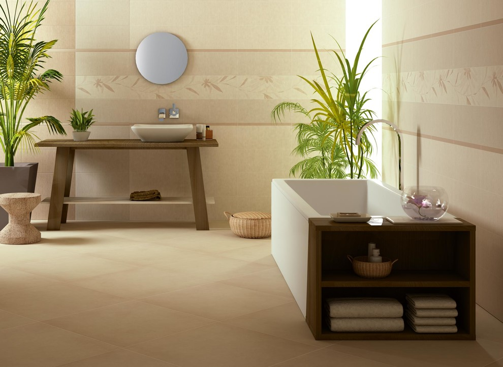 Duravit Vanity Bathroom Contemporary with Accent Tile Asian Bathroom Tile Beige Brown Earthtones Floor Tile Spa Wall