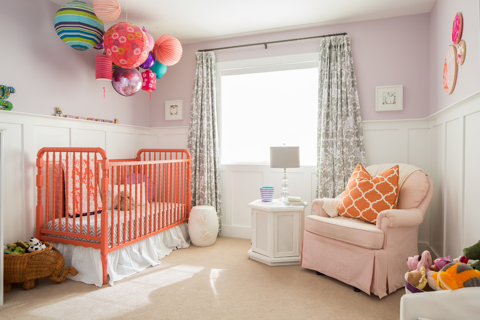 dutailier Kids Transitional with Amy Butler Fabric coral Eclectic grey lilac jenny lind crib lanterns lavender