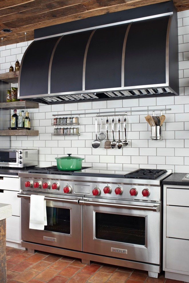 Dutch Ovens Kitchen Transitional with Black Range Hood Cut Out Pulls Double Oven Floating Shelves Gas Range