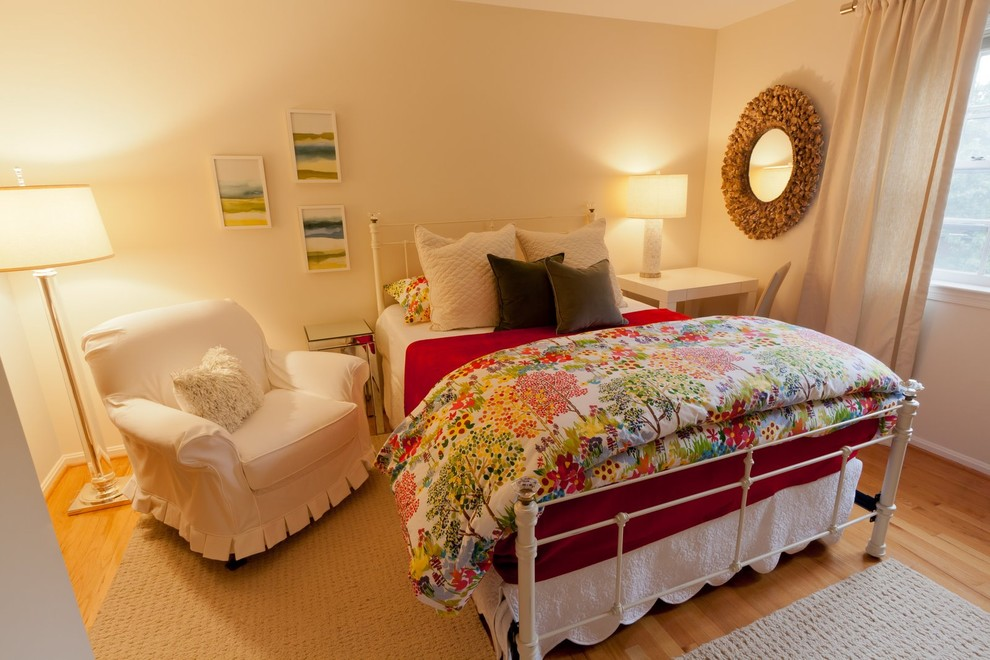 duvet comforter Bedroom Eclectic with area rug artwork cottage country curtains drapes floral bedding metal bed round