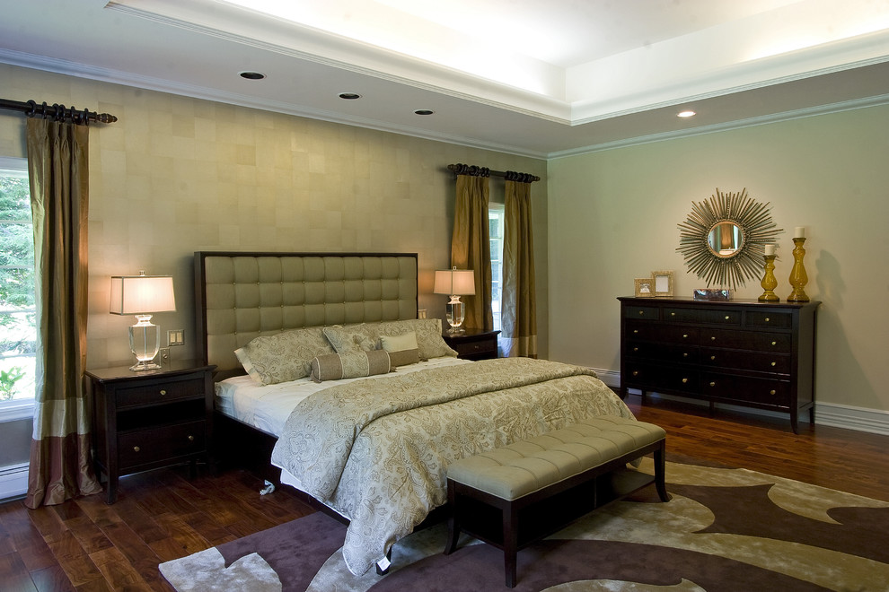 Duvet Comforter Bedroom Traditional with Accent Wall Bedside Table Ceiling Lighting Chest of Drawers Curtains Dark Wood