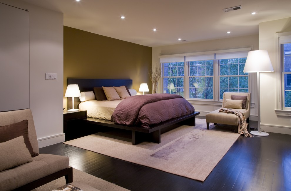 Duvet Comforter Bedroom Traditional with Area Rug Bed Side Tables Chaise Dark Stianed Floors Floor Lamp French