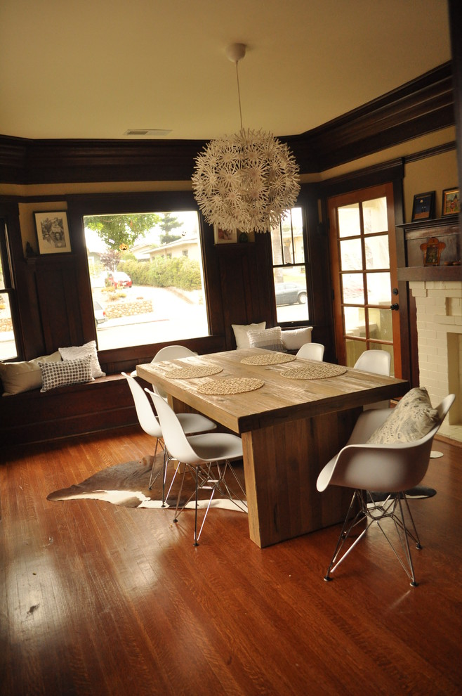 Eames Chair Dining Room Transitional with Chunky Wooden Table Contrast Cowhide Craftsman House Dining Room Eames Eames Chair