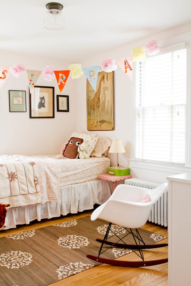 Eames Rocking Chair Kids Shabby Chic with Animal Artwork Banner Brown Patterned Rug Eames Rocking Chair Floral Bedding Giraffe