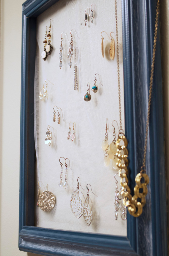 Earring Storage Spaces Eclectic with Blue Display Diy Earrings Frame Hanger Jewelry Mesh Necklaces