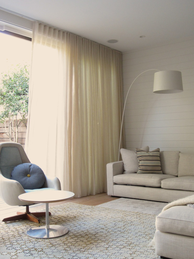 Eclipse Blackout Curtains Living Room Contemporary with Armchair Beadboard Bright Floor Lamp Rug Side Table Sheer Curtain Siding Sofa