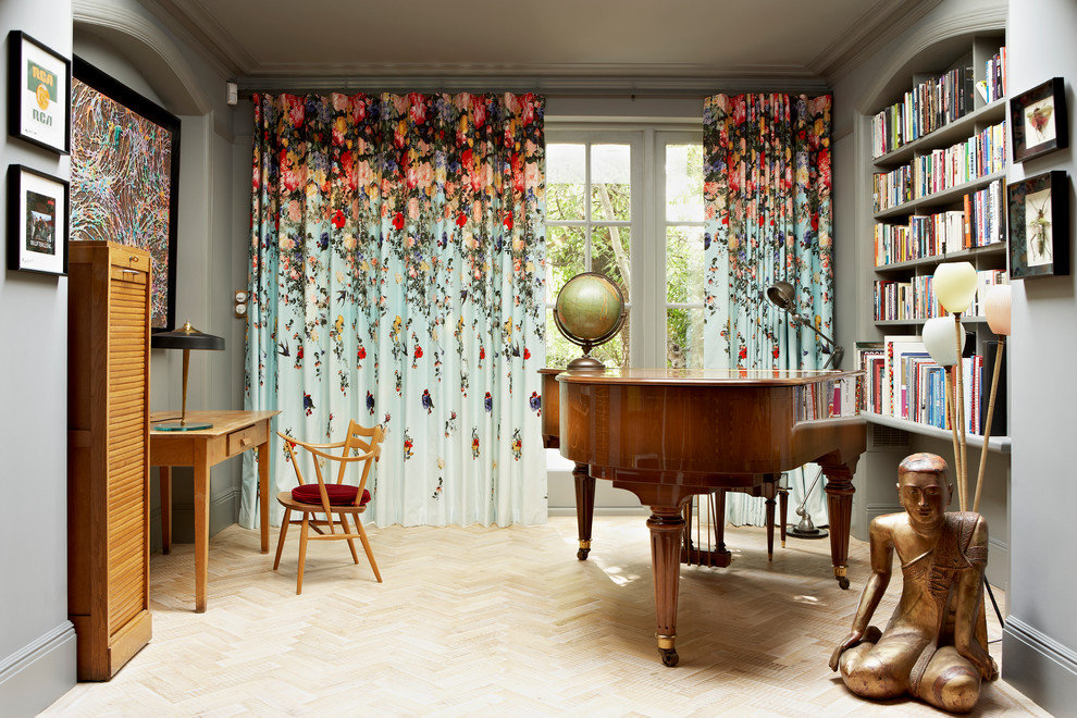 Eclipse Curtains Living Room Eclectic with Arch Archway Built in Bookcase Built in Bookshelf Colourful Artwork Colourful Curtains Colourful Wall