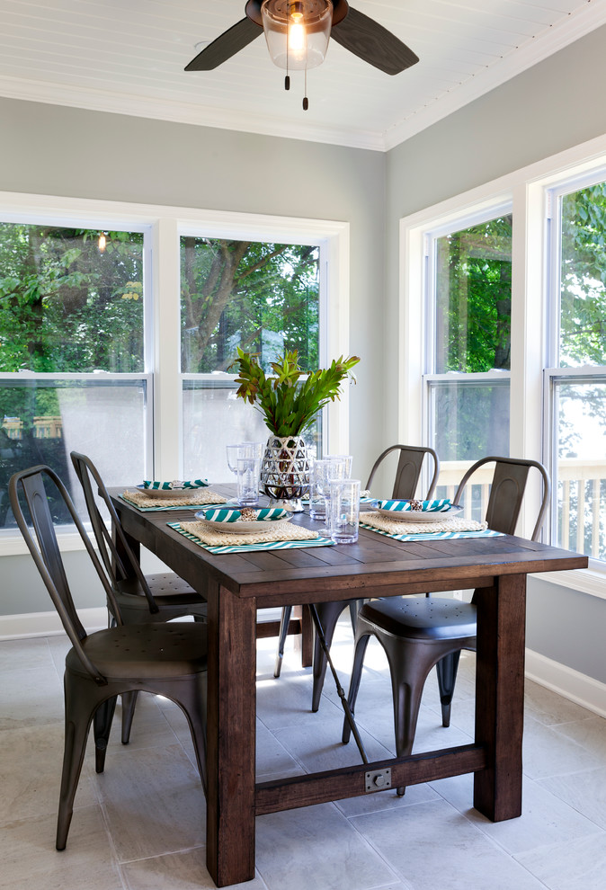 Eddie Bauer Furniture Dining Room Beach with Farmhouse Table with Metal Truss Filament Ceiling Fan Grey Blue Wall Color