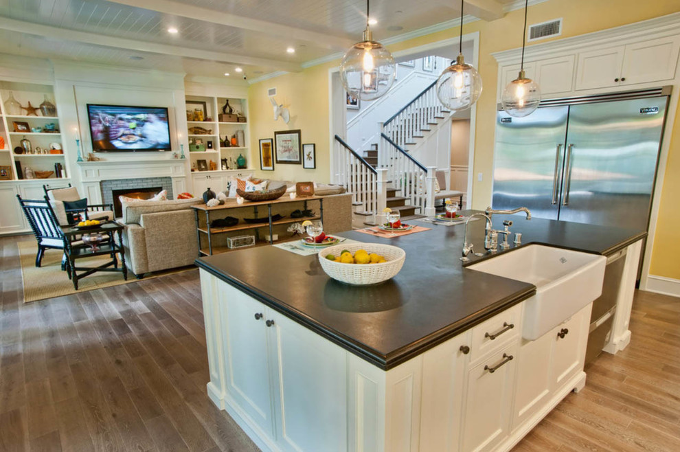 Eddie Bauer Furniture Kitchen Traditional with Bamboo Blinds Laminate Light Wood Floors Wood Floors
