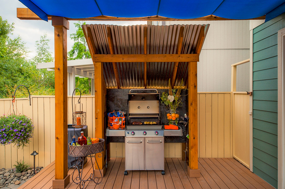 Electric Barbecue Grill Deck Transitional with Barbecue Bbq Blue Awning Cedar Fencing Corrugated Metal Covered Structures Decking Flower
