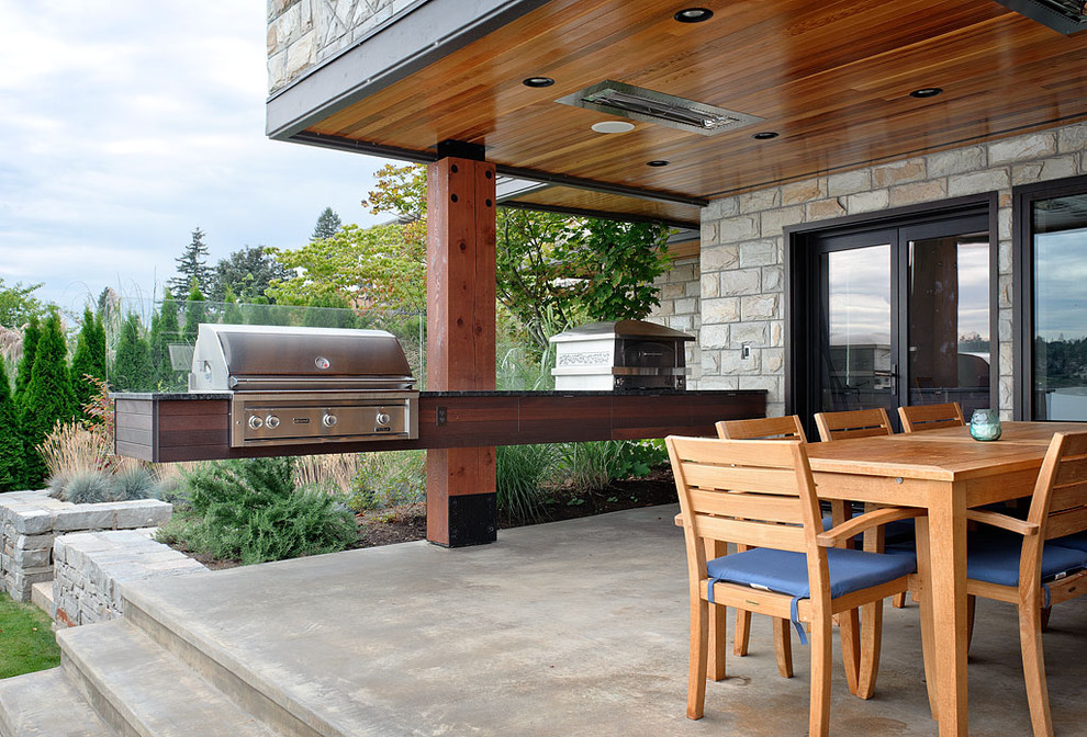 Electric Barbecue Grill Patio Contemporary with Black Door Trim Blue Outdoor Cushion Concrete Patio Dark Wood Countertop Floating