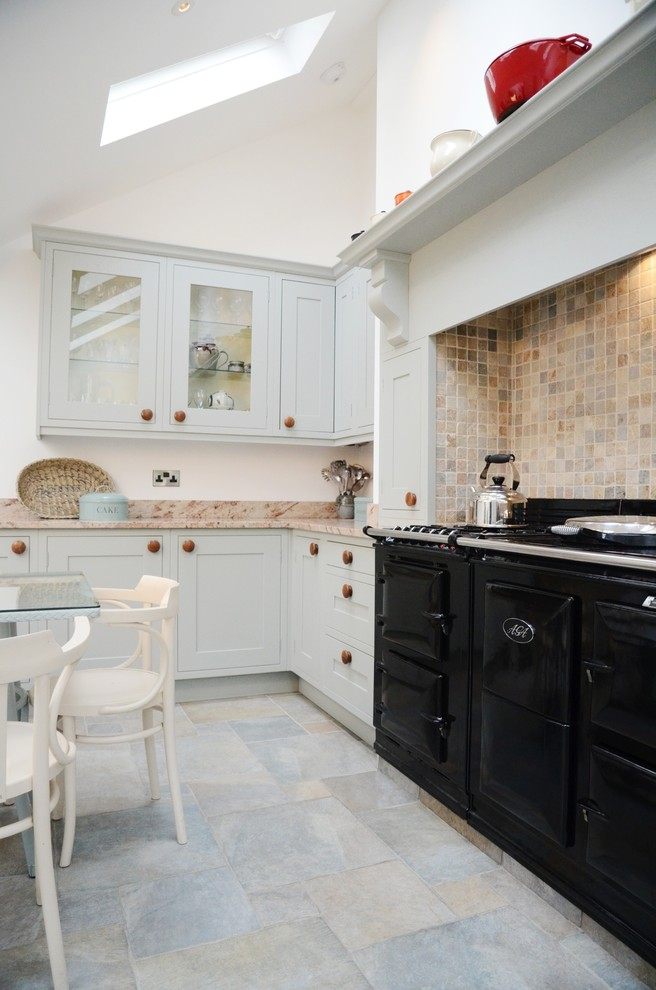 electric egg cooker Kitchen Traditional with aga aga over mantel backsplash blue grey corbel eat-in kitchen farrow and