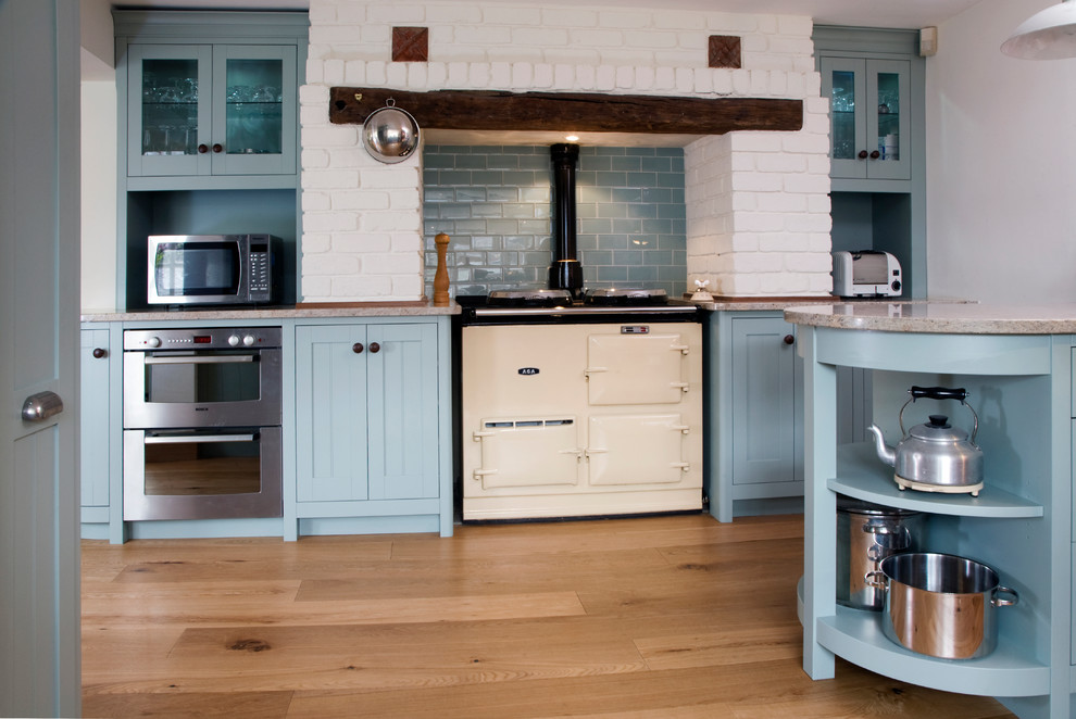 Electric Egg Cooker Kitchen Traditional with Aga Aga Over Mantel Bespoke Blue Subway Tile Backsplash Country Curved Doors