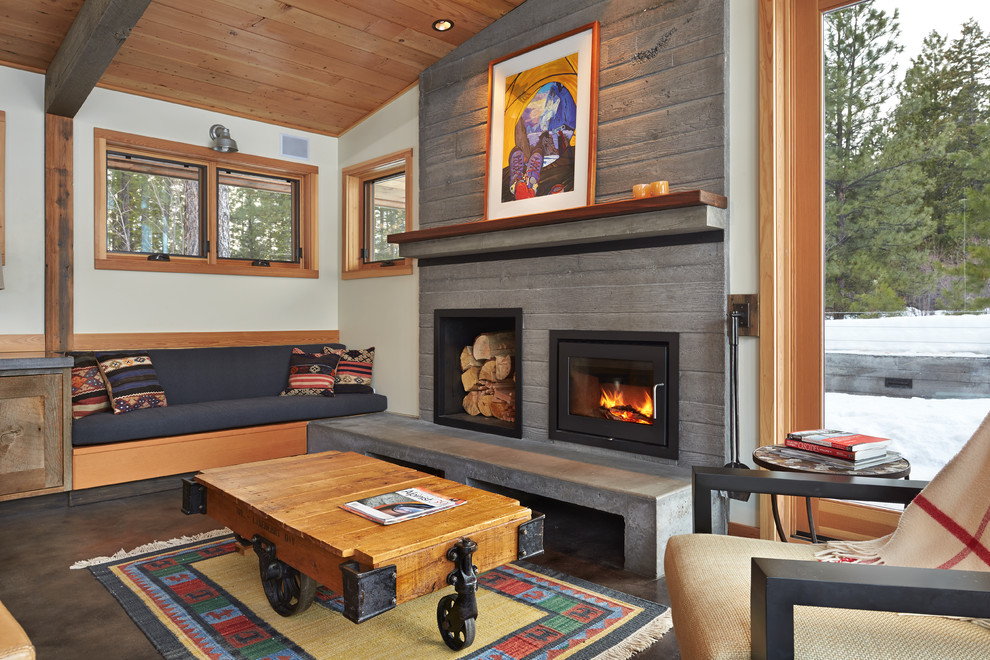 electric fireplace inserts Living Room Contemporary with area rug armchair artwork beam built-in bench cabin cement floor Fireplace fireplace