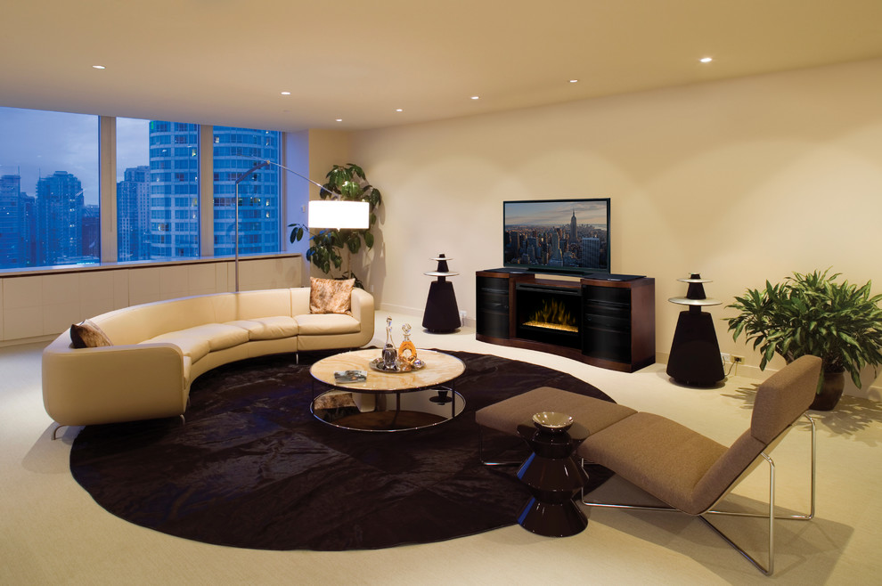 electric fireplace media console Family Room Contemporary with contemporary home decorating contemporary living room electric fireplace electric fireplace media console