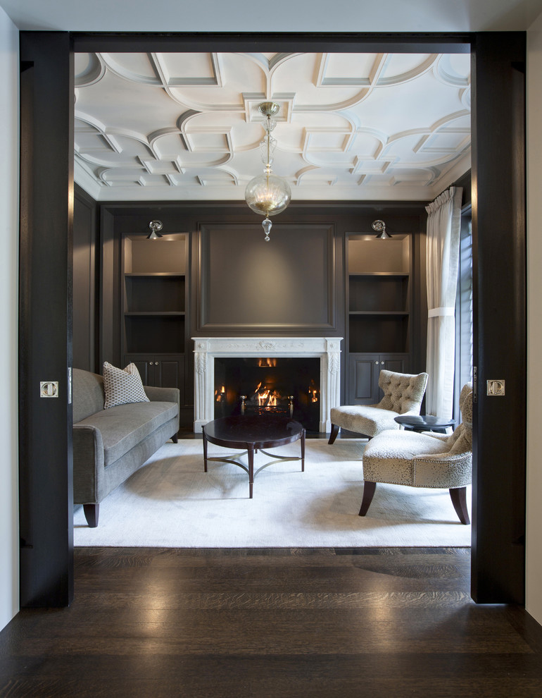 Electric Fireplace Reviews Living Room Traditional with Armless Lounge Chairs Built in Bookshelves Chandelier Curtain Panel Dark Gray Dark