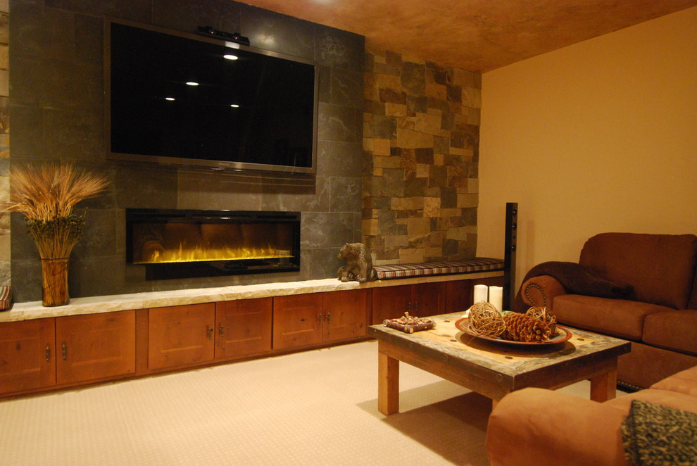 electric fireplaces Family Room Contemporary with electric fireplace game room glass fireplace