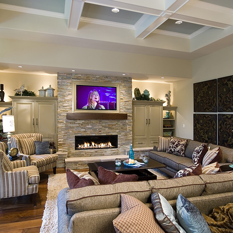 Electric Fireplaces Family Room Traditional with Accent Pillows Backlighting Backlit Built Ins Blue and Brown Coffered Ceiling Cream Rug