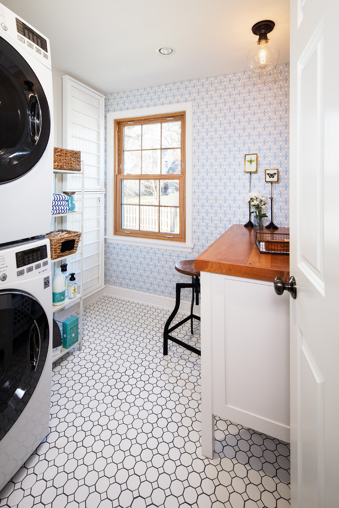 Electric Meat Tenderizer Laundry Room Traditional with Circular Mosaic Laundry Space Saving Storage Utility Wallpaper 1