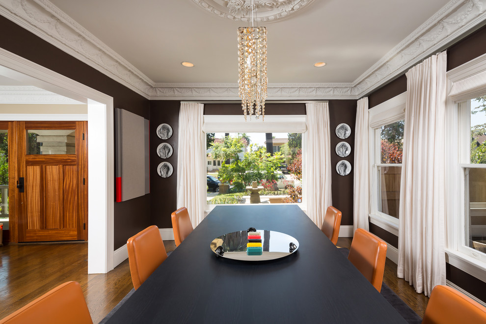 Electric Tea Kettle Dining Room Contemporary with Art Walls Brown Walls Cherry Entry Door Crown Moulding Dark Paint Eating