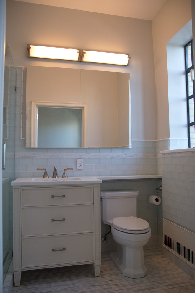 Elongated Toilet Seat Bathroom Contemporary with 2 Mirrors Custom Vanity Glass Tile Marble Floors White Painted