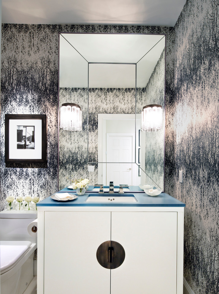 Elongated Toilet Seat Powder Room Contemporary with Bathroom Black and White Blue Counter Brass Cabinet Curled Handle Frame Hardware