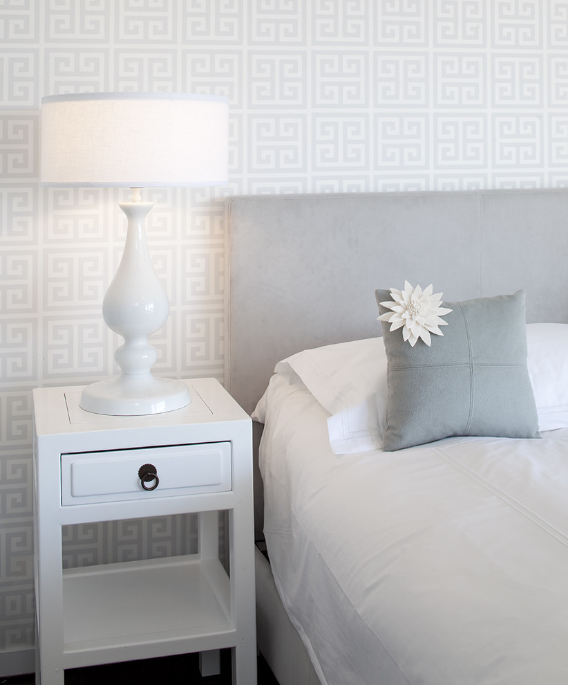 End Tables with Drawers Bedroom Contemporary with Flower Greek Key Headboard Nightstand Table Lamp Upholstered Headboard Wallpaper White Bedding