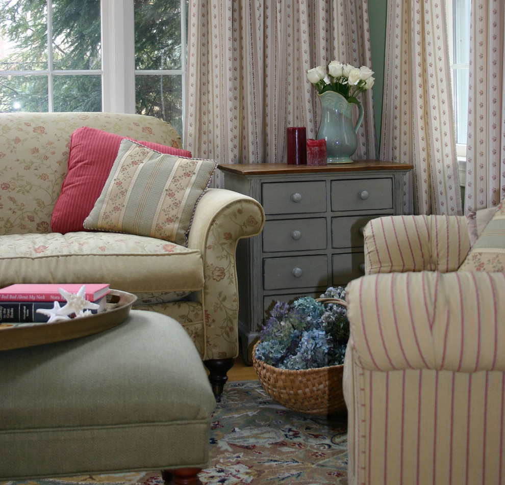 end tables with drawers Living Room Traditional with country floral floral sofa striped chair
