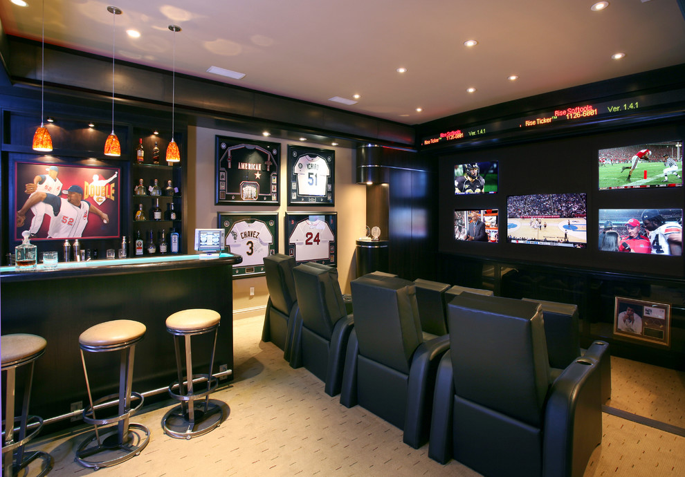 Entertainment Centers for Flat Screen Tvs Home Theater Contemporary with Baseball Beige Carpet Beige Ceiling Beige Wall Black Bar Black Leather Lounge
