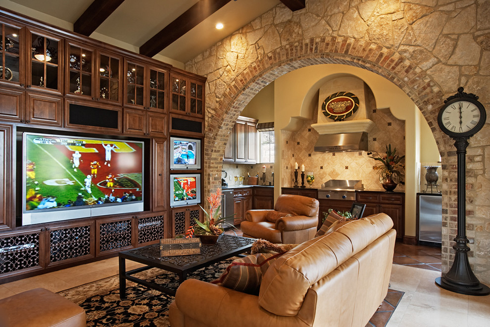 Entertainment Centers for Flat Screen Tvs Living Room Mediterranean with Archway Built in Media Center Clock Exposed Wood Beams Footstool Leather Armchair