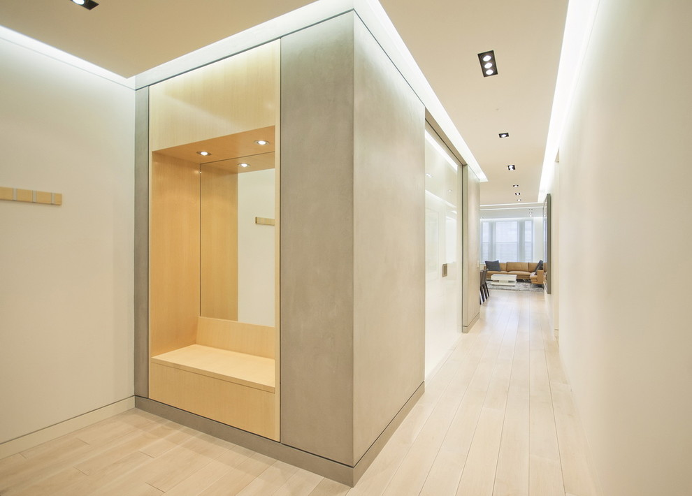 Entry Way Bench Hall Modern with Ash Paneling Bench Built in Seating Closet Cove Ceiling Lights Dressing Area Floating