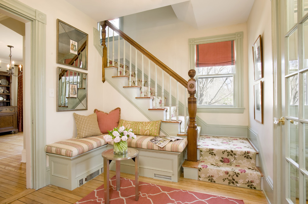 Entryway Bench Entry Shabby Chic with Banquette Baseboards Built in Bench Carpet Runner Entry Bench Floral Arrangement Floral