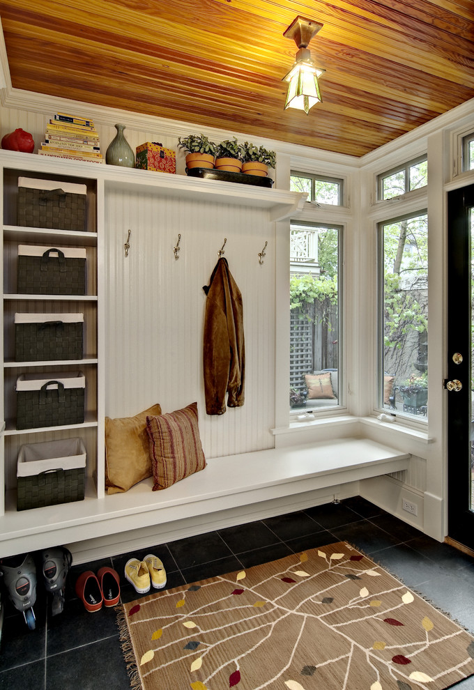 entryway benches Entry Traditional with basket bead board bench built-in shelves CEILING LIGHT dark tiled floor entrance