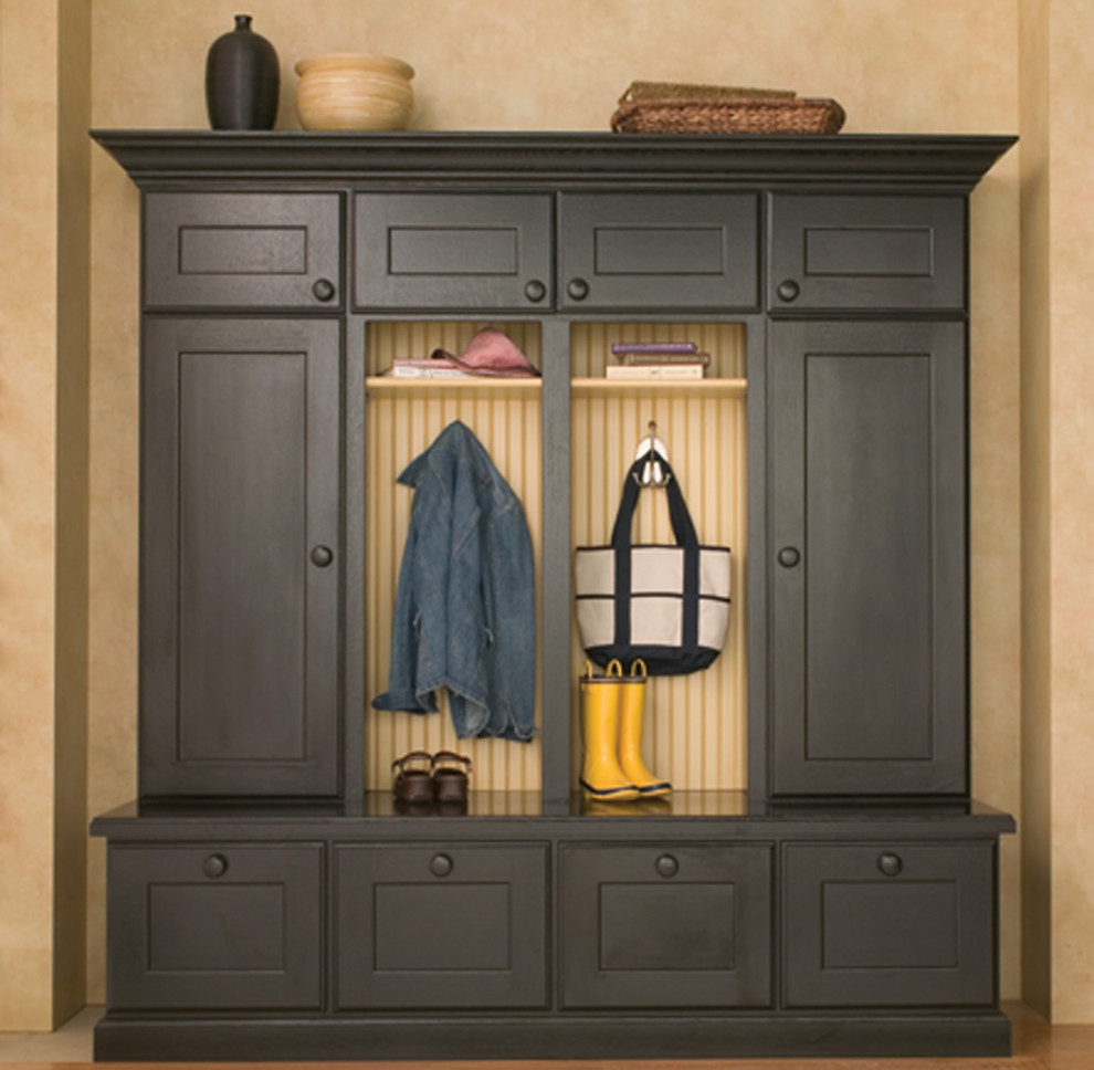 Entryway Hall Tree Entry Traditional with Beadboard Bench Benches Black Black Paint Boot Bench Boot Benches Bootbench Cabinetry