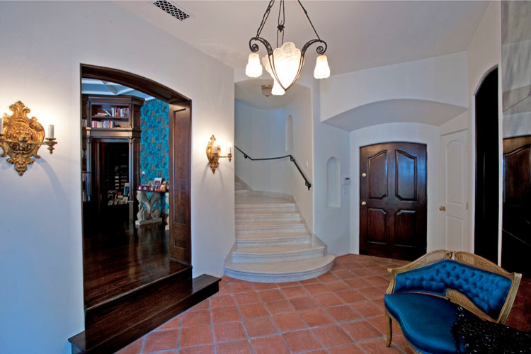 Entryway Hall Tree Entry Traditional with Cabinets Coffered Ceiling Kitchen Magnasite Remodel Stair Case