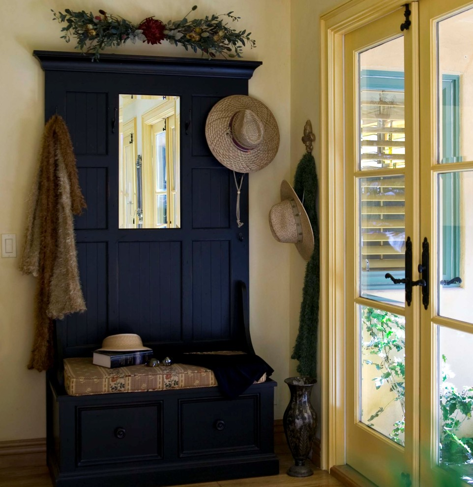 Entryway Mirror Entry Traditional with Coat Rack French Doors Glass Doors Hall Tree Rustic Storage Bench Wood