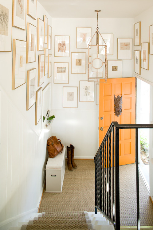 Entryway Storage Bench Entry Eclectic with Foyer Gallery Wall Orange Door Painted Door Seagrass