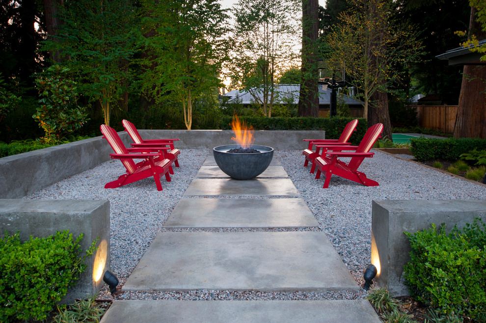 ergonomic kneeling chair Patio Contemporary with adriondack chairs concrete wall fire bowl fire feature fire pit gravel lighting