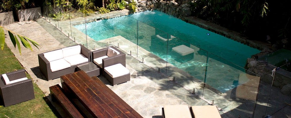 Espresso Bookcase Pool Eclectic with Glass Fencing Glass Patio Glass Pool Fence Glass Railing