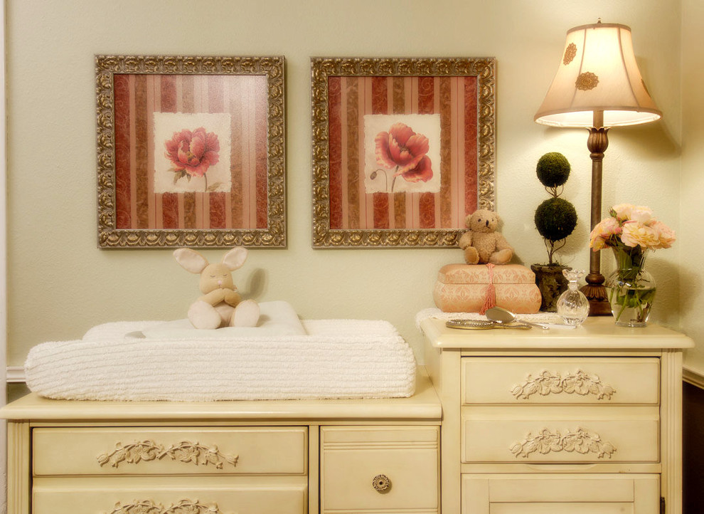 Espresso Changing Table Nursery Shabby Chic with Baby Bedroom Changing Table Child Cream Distressed Finish Floral Arrangement Floral Print