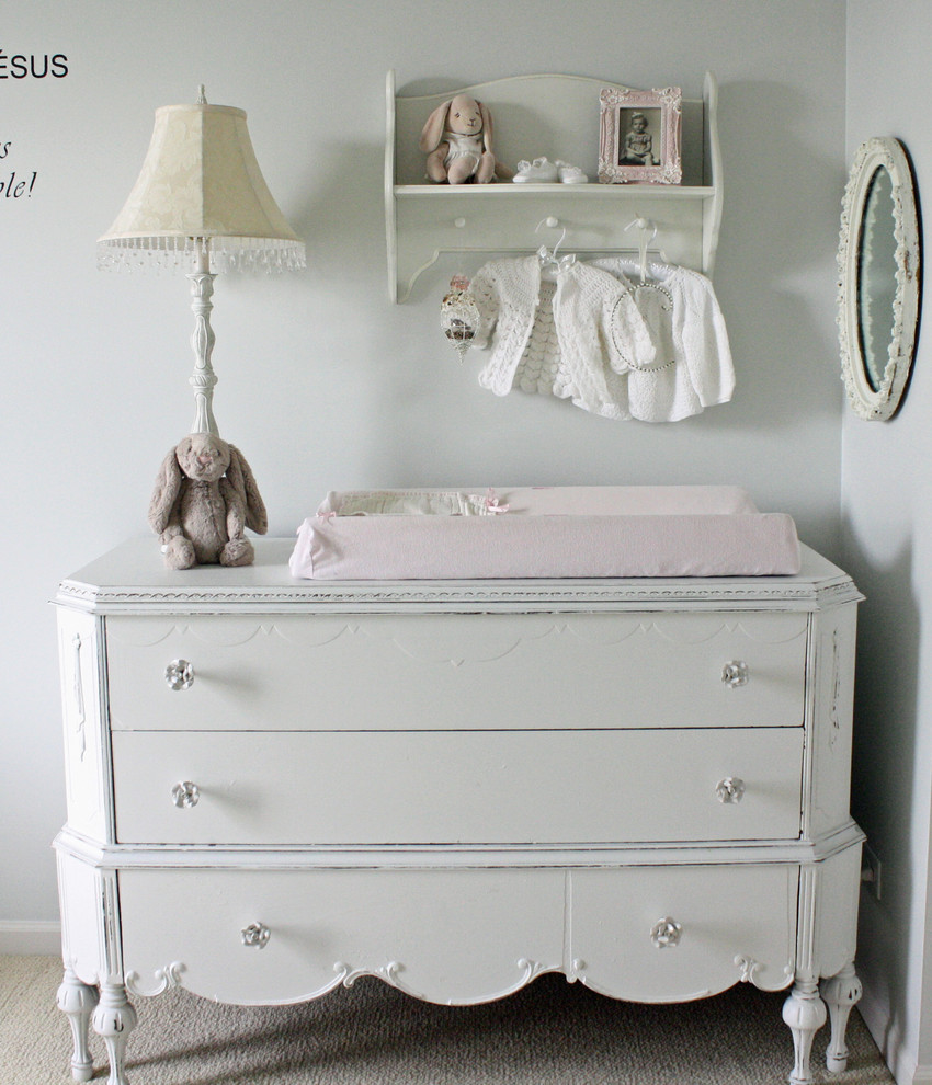 espresso changing table Nursery Shabby chic with baseboard carpet changing table chest of drawers coat rack drawer pulls dresser