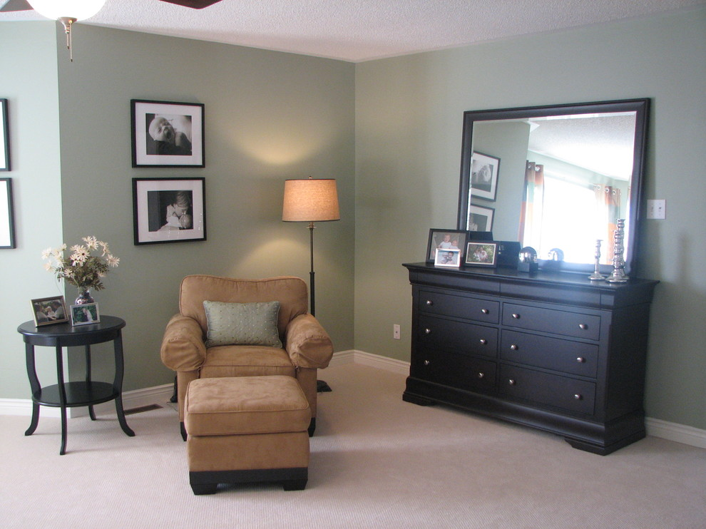 Espresso Dresser Bedroom Transitional with Bedroom Black and White Photos Club Chair Contemporary Floor Lamp Dresser Espresso