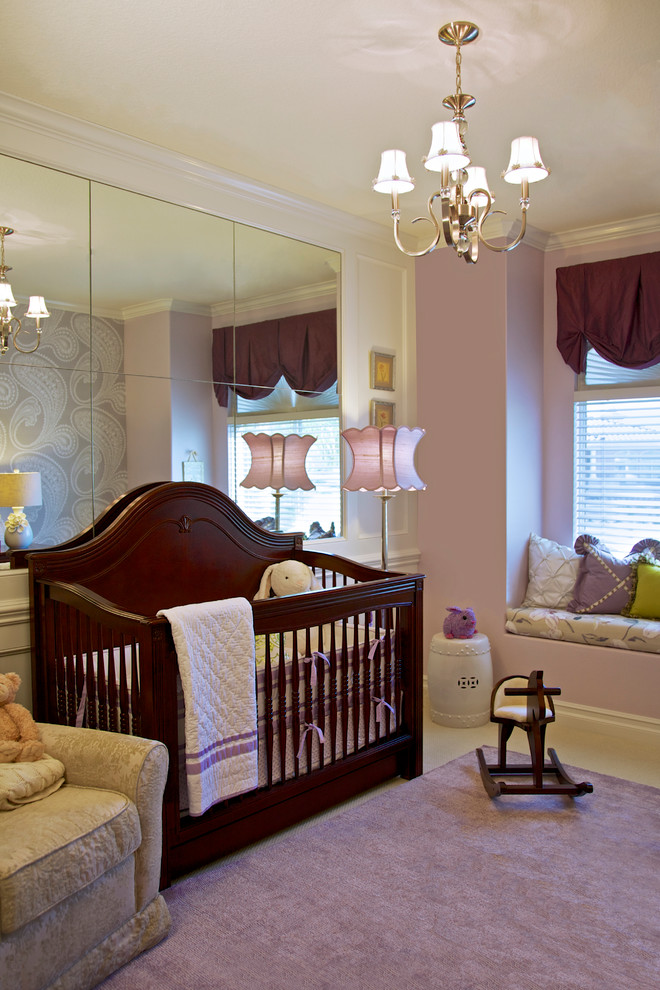 espresso dresser Nursery Traditional with Baby Room Beverly Hills brown crib brown dresser crystal drawer knobs damask