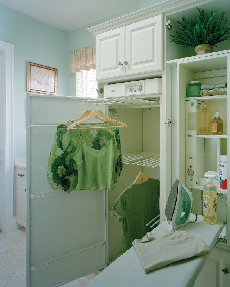 Essick Air Humidifier Laundry Room Traditional with Built in Cabinetry Hangers Indoor Plants Ironing Board Light Blue Storage Valance