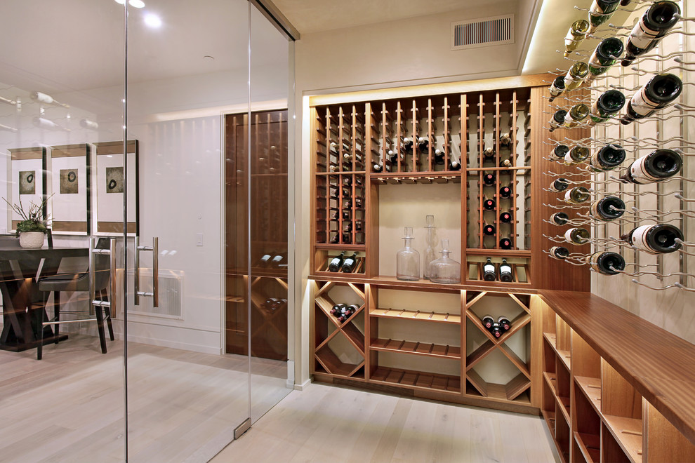essick humidifiers Wine Cellar Contemporary with backlit shelves contemporary Corona del Mar custom Details a design firm details
