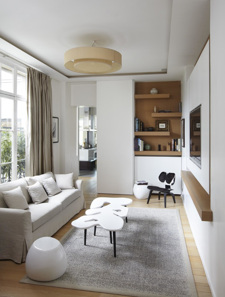 Etagere Family Room Scandinavian with Beige Curtains Beige Drum Pendant Light Beige White Sofa Canap 4 Places