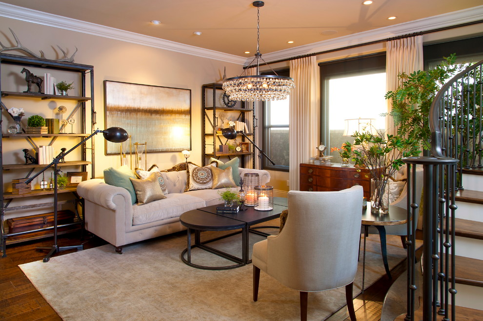 Etagere Living Room Contemporary with Beige Painted Wall Bookshelf Chandelier Coffee Table Console Crown Molding Curtains Cushions